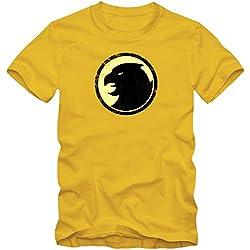 Sheldon T-Shirt #3   Hombre   Hawkman Motivo   The Big Bang Theory   Serie de Televisión Fun Shirts, Couleur:Gelb (Gold L190);Taille:Large