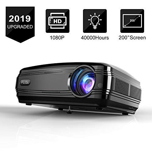 "Video Beamer mit Einem Presenter,3300LM Full HD 5.8\"" LCD Videoprojektor 20000: 1 Kontrast 1080P HDMI USB VGA SD Card AV für Office Heimkino Kompatibel mit Fire TV Stick Chromecast Schwarz"