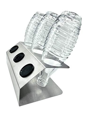 SodaNatureTM | 3er Edelstahl-Abtropfhalter optimiert für SodaStream Crystal Glasflaschen | Flaschenhalter für Glas- & PET-Flaschen | spülmaschinenfest & rostfrei | Made in Germany