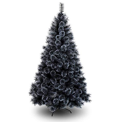 DLPY Nero Artificiale Albero Pino Artificiale Premium Abete Porta A Battente Auto-Diffusione Staffa Metallica Albero di Natale Vacanza Decorazione-Nero 120cm(47inch)