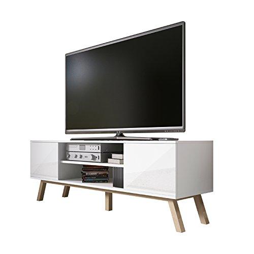 Vero Wood - Mobile Porta TV / Mobiletto Porta TV Moderno (150 cm, Bianco Opaco / Pannelli Frontali...
