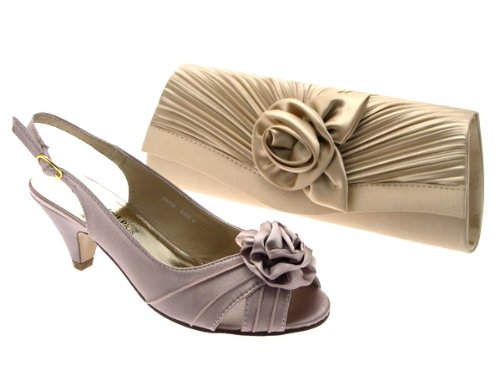 7c31729e9de WOMENS LOW HEEL SATIN WIDER FIT BRIDAL WEDDING EVENING COMFORT SHOES ...