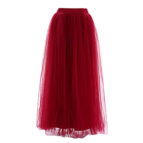 LINNUO Mujer Falda de Tul Larga de Tul Plisada Tutu Malla de Noche Fiesta Cintura Alta