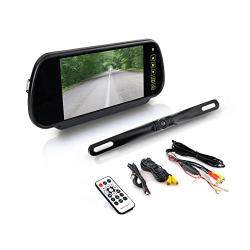 """Pyle Backup Car Camera - Rear View Mirror Monitor System w/Safety Parking Assist Distance Scale Lines - Features Bluetooth, Waterproof Protection, Night Vision, 7"""" LCD Screen Display - PLCM7400BT"""