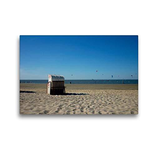 CALVENDO Tela in Tessuto 45 cm x 30 cm Orizzontale, Poltrona da Spiaggia nel Mare del Nord, Immagine su Telaio, su Vera Tela, Stampa Artistica: Cuxhaven Natur Natura