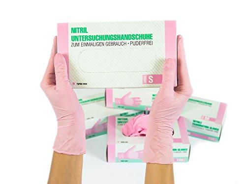 SF Guanti Monouso in Nitrile da 1000 pezzi, 10 scatole (Taglia S, Rosa), non sterile, senza polvere,...
