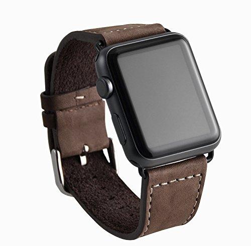 OKCS Armband - für Apple Watch 42 mm Series 1, Series 2, Series 3, Edition Echtes Leder Uhrenband Erstatzband Strap 42 mm mit Connector - Braun