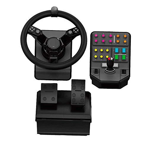 Logitech G Landwirtschafts-Simulator Bundle für schwere Maschinen (2. Generation), Lenkrad-Controller für Farming-Simulator 19 (oder früher) - Lenkrad, Gas- und Bremspedale, Seitenkonsole für PC/PS4