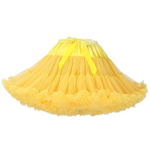 Falda Tul Capas Faldas de Tul Falda Capa Tutu Mujer Disfraces con Tutu Tutus para Adultos Disfraz Adulto Tutú Pettiskirt Volantes Tulle Ballet Pollera de Tul Princesas Danza Amarillo Claro