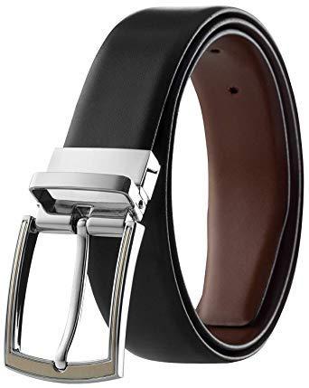 Eliz Luxe Men's Reversible Classic Italian Top Grain Leather Dress Belt (Black and Brown, 34)