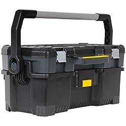 Stanley Werkzeugkoffer / Werkzeugtasche (67x32x29cm, komplette Werkzeugbox, Koffer für Elektrowerkzeuge, robuste Metallschließen, abnehmbarer Absatz, Structural-Foam-Design) 1-97-506