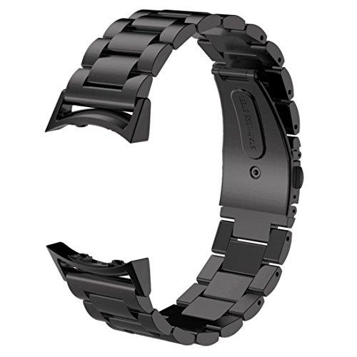 SUNDAREE Compatibile con Cinturino Gear S2 Sport,Cinturini di Ricambio Acciaio Band Orologio Sostituzione Cinghia di Polso con Link Metallico per Samsung Gear S2 Sport SM-R720/SM-R730(Black Metal)