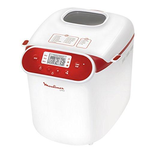 Moulinex OW310130 - Panificadora programable, 700 W, capacidad de 1 kg, color blanco y rojo