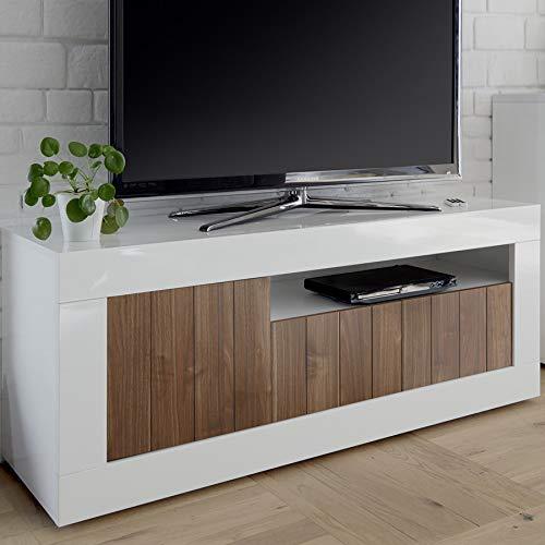 Mobile TV 140cm Marrone Bianco Laccato Moderno, 3Porte Urban 4