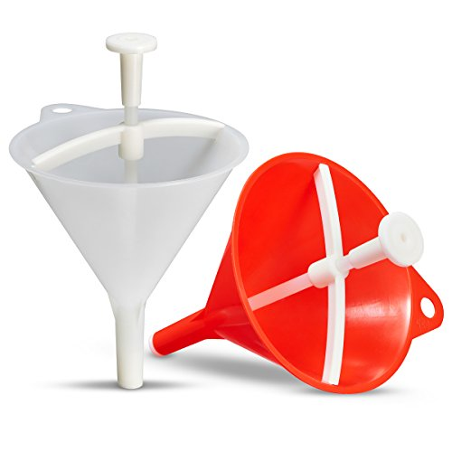 Embudo dosificador Drychter Duo, el original de Fritz Frech, 1Drychter blanco para el hogar y la cocina, 1Drychter rojo para artesanías y comercios, el embudo dosifica y sella