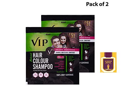 VIP Hair Colour Shampoo, Brown 20ml PACK OF 2