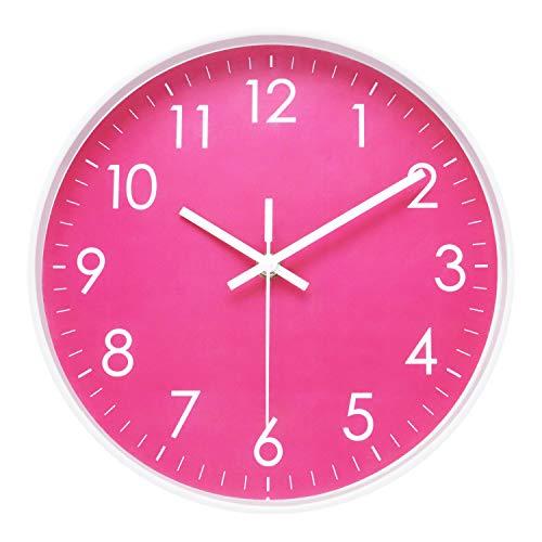 ufengke Orologio da Parete Rosa Silenzioso Orologio da Muro Quarzo Moderno Eleganti per Soggiorno Camera da Letto Cucina 26cm