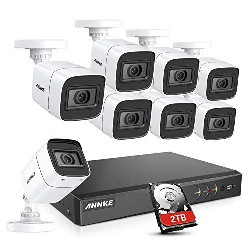 Annke 4K Kit di sistema 8 CH DVR sorveglianza H.265 con disco rigido da 2 TB e 8 telecamere da 8 MP di sicurezza IP67 con visione notturna EXIR LED IR e allarme via e-mail