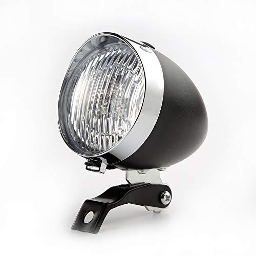 scatkinPYwl - Fanale Anteriore per Bicicletta, 3 LED, 2 modalità, Stile Vintage, Uomo, Nero, Taglia...