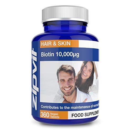 Biotina 10,000mcg   360 piccole vegan compresse   Massima Efficacia Vitamina B7 per capelli, unghie e pelle sani   Fornitura 12 mesi