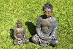 Estatua de Buda Decoración escultura Altura 40cm de resina de color antracita 3