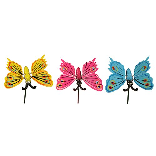 Wonderland (Set of 3) Butterfly Garden Stake/Sticks in Blue, Pink & Yellow for Home, Garden, Balcony Decor Decoration