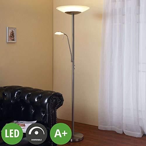 Lampenwelt LED Stehlampe \'Ragna\' dimmbar (Modern) in Weiß aus Glas u.a. für Wohnzimmer & Esszimmer (2 flammig, A+, inkl. Leuchtmittel) - Wohnzimmerlampe, Stehleuchte, Floor Lamp, Deckenfluter