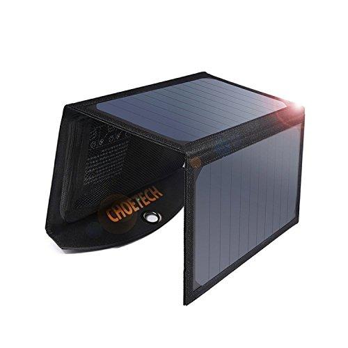 Caricabatterie Solare, CHOETECH Pannello Solare da 19W Caricabatteria Pieghevole con 2 Porte USB...
