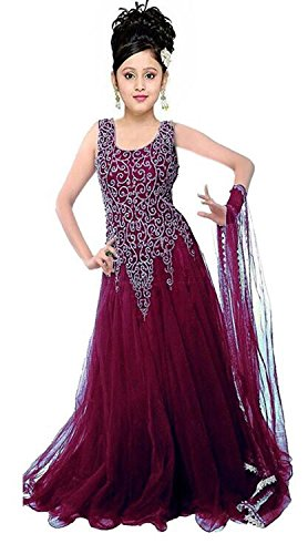 Girl's Soft Net Embroidered Gown For Parties And Wedding Traditional Wear (6-12 years)