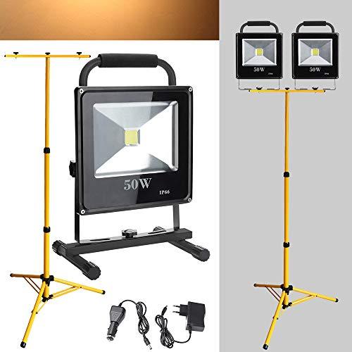 Hengda 2*LED Werkstattlampen 50W Warmweiß Akku Außen Strahler Baustrahler Mit Teleskop-Stativ