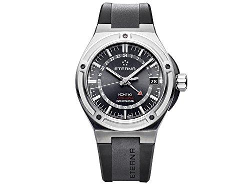Eterna Royal KonTiki Uhr, Eterna 3945-A, Schwarz, Kautschukband, 7740.40.41.1289