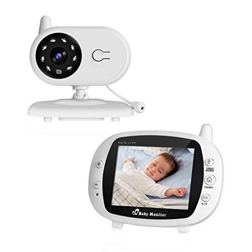 Cozime Baby Monitor con 3.5 Inch LCD Schermo, Interfono, Visione Notturna, Monitoraggio Della Temperatura, Ninnananna