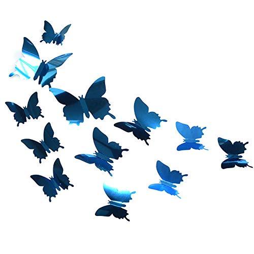 SunYueY - Adhesivo Decorativo para Pared, diseño de Mariposas de PVC, 3D, 12 Unidades, Color Azul