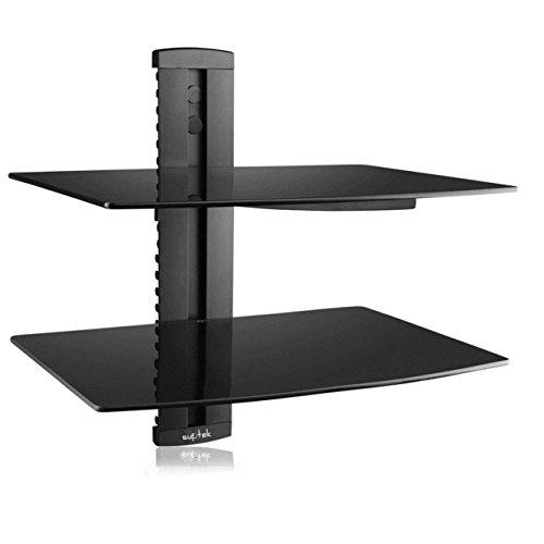 Suptek Black 2 Scaffale galleggiante con vetro temperato rinforzato per lettori DVD / Cavi / Console...