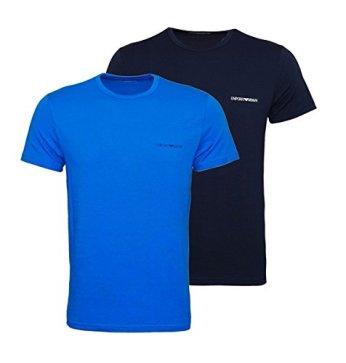 Emporio-Armani-Camiseta-de-Manga-Corta-elstica-algodn-M-BLUAzzurro