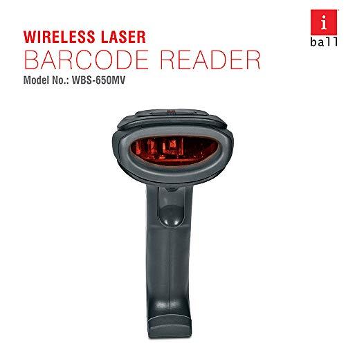 iBall WBS-650MV 2.4GHZ Wireless High-Speed 1D Barcode Scanner Reader, Black