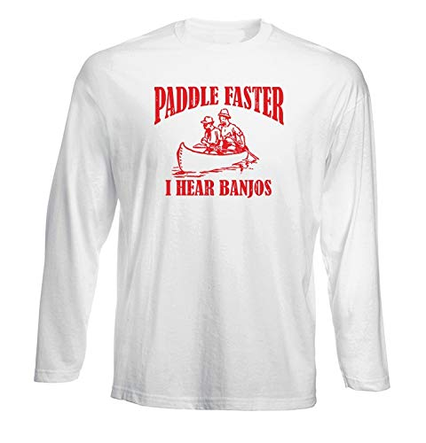 T-Shirt Manica Lunga Uomo Bianca FUN2665 Paddle Faster lblu