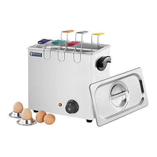 Royal Catering Cuiseur à Œufs Professionnel RCEB 6T (2600W, 6 cuillère à œufs de différentes Couleurs, 30-110 °C, sécurité Anti-surchauffe, INOX)