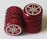 2er Set Original Yamaha Stimmgabel Halbe Rändelrad Rot Reifen Ventil Staubkappen für Motorräder Fahrräder, Atv Auto .