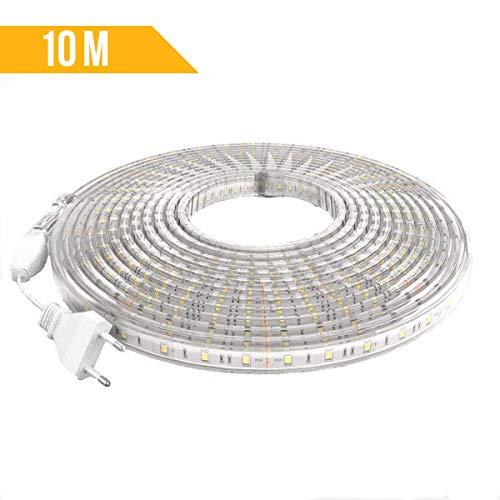 FonaTech Strisce led 220V 10 metri per esterni IP65 Striscia esterno impermeabile bianco freddo 6000K strip led