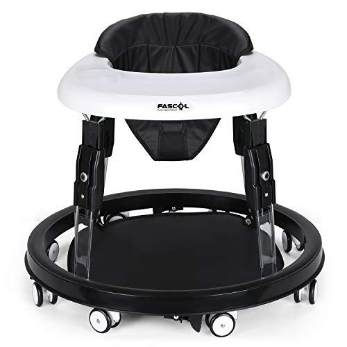 Fascol Lauflernhilfe Gehfrei Lauflernwagen Klappbar Babystuhl Justierbar in der Sitz-Tuch (23-25.7-28.4-31.1 cm) Babyschaukel, Schwarz