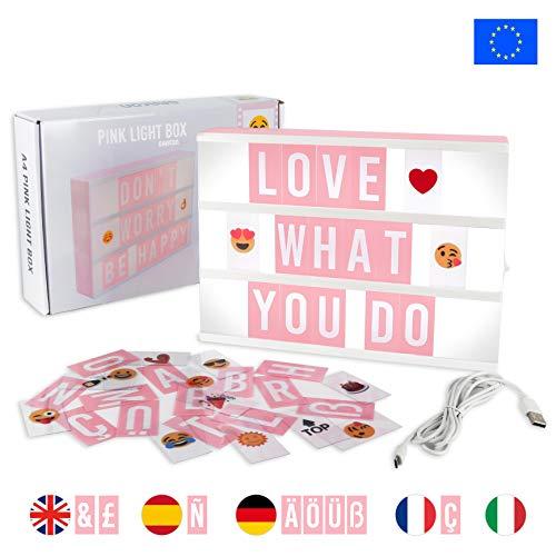 Light Box Rosa con 155 Lettere, Simboli e Emoji, con USB - BONNYCO | Lavagna Luminosa con Lettere...