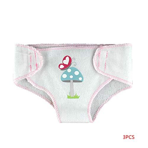 fgghfgrtgtg 3 Pezzi riutilizzabili Pantaloni Panno Bambole Interactive Pannolino Set Nappy 17 Pollici 43cm Accessori