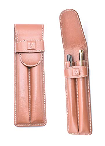 Adamis Top Quality Genuine Leather Double Pen Holder/Pencil Case/Stylus Pouch, 7 inch X 2 inch in W51 Tan
