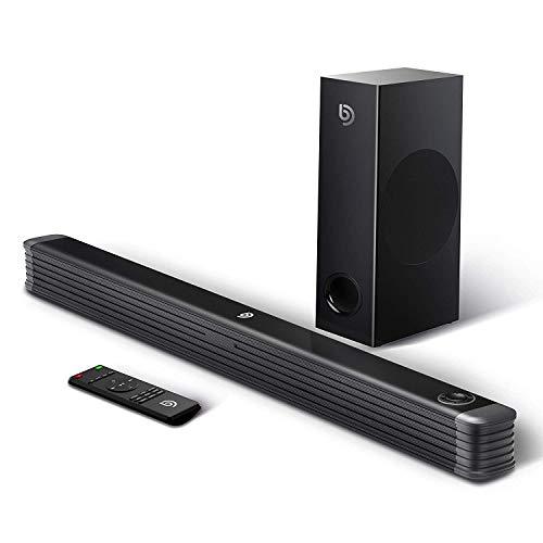 BOMAKER SoundBar con Subwoofer Wireless 2.1 Canali, 150W/110db Suono Surround Altoparlante Sistema Home Cinema Bluetooth Compatibile TV/Cellulare/PC per Casa/Bar/Montaggio a Parete