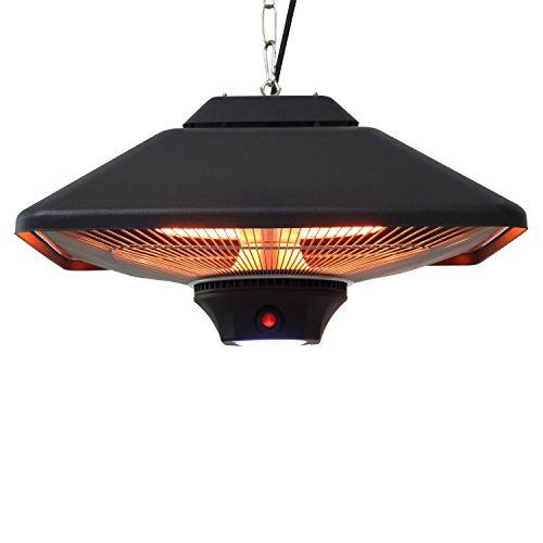 Outsunny® Terrassenstrahler Deckenstrahler Heizstrahler mit Fernbedienung LED Beleuchtung, 2000W, 43x43x25cm