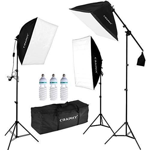 CRAPHY Softbox Kit Studio Kit Illuminazione Continuo con Lampadine da 3x135W 5500K, 20'x 25'...