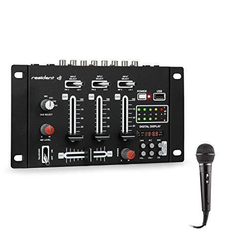 Resident DJ • DJ-21 BT • Mesa de mezclas DJ • Set de mezcla • 2,3 canales • 600 Ohm • 76 dB • Bluetooth • USB • Micrófono • Negro