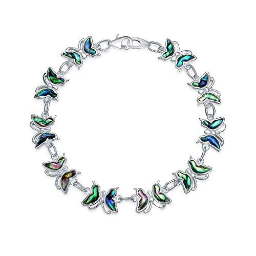 Bling Jewelry 925 de Shell del olmo de la mariposa adorno de la pulsera del encanto