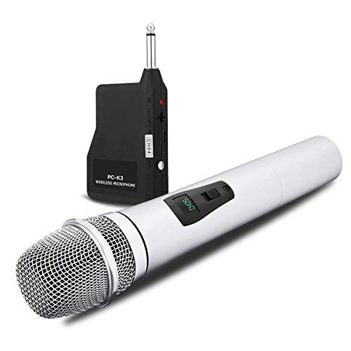 Microfono wireless VHF con mini ricevitore Microfono Karaoke NASUM con corpo in metallo, microfono da 6,35 mm Mini ricevitore portatile per conferenza, Home KTV e discorso (Argento)